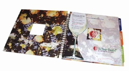 Scrapbook with checklists for your wine party